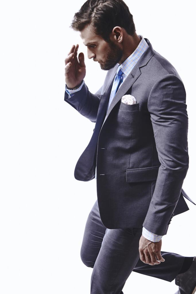 Hilton Notch Lapel Pin Stripe Suit: $798