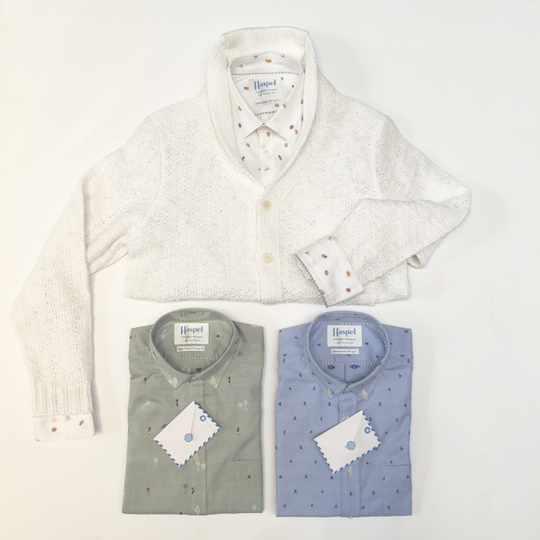 Haspel Rampart SS Embroidered Pattern Shirt (Blue, green, white): $195 Haspel Acacia Knit Cardigan: $395