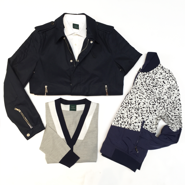 Kent and Curwen Short Trench Cotton Jacket: $695 Kent and Curwen Engineered Rib Cardigan: $325 Kent and Curwen Reversible Print Bomber Jacket: $595 Kent and Curwen Poplin LS Shirt: $225