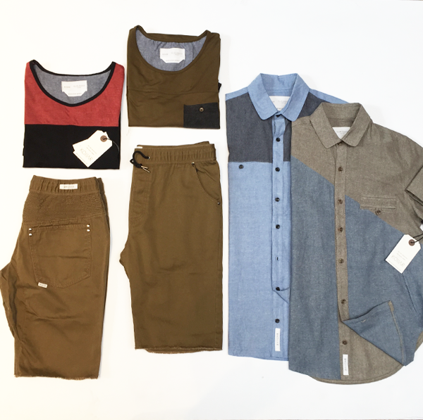 Kollar Clothing Block SS Button Shirt: $68 Kollar Clothing Block T-Shirt, Zip Back Detail (Red): $55 Kollar Clothing Block T-Shirt with Chest Pocket (Green): $55 Kollar Clothing Block SS Button Shirt (Blue): $68 Kollar Clothing Shorts w/ Drawstring (Brown): $80