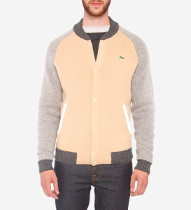 COLOUR BLOCK WOOL BLEND SWEATER BOMBER JACKET