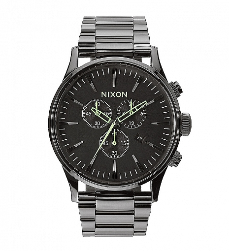 Nixon Polished Gunmetal/Lum Sentry Chrono Watch $400